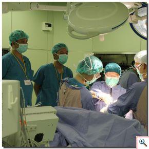 來自印尼的Dr. Cokorda Gde Oka Dharmayudha、Dr. Jamot Silitonga(左一起),特地來到花蓮慈院,觀摩兼任骨科部主任的花蓮慈院名譽院長陳英和(左四)示範人工膝關節置換手術。(攝影:楊國濱)